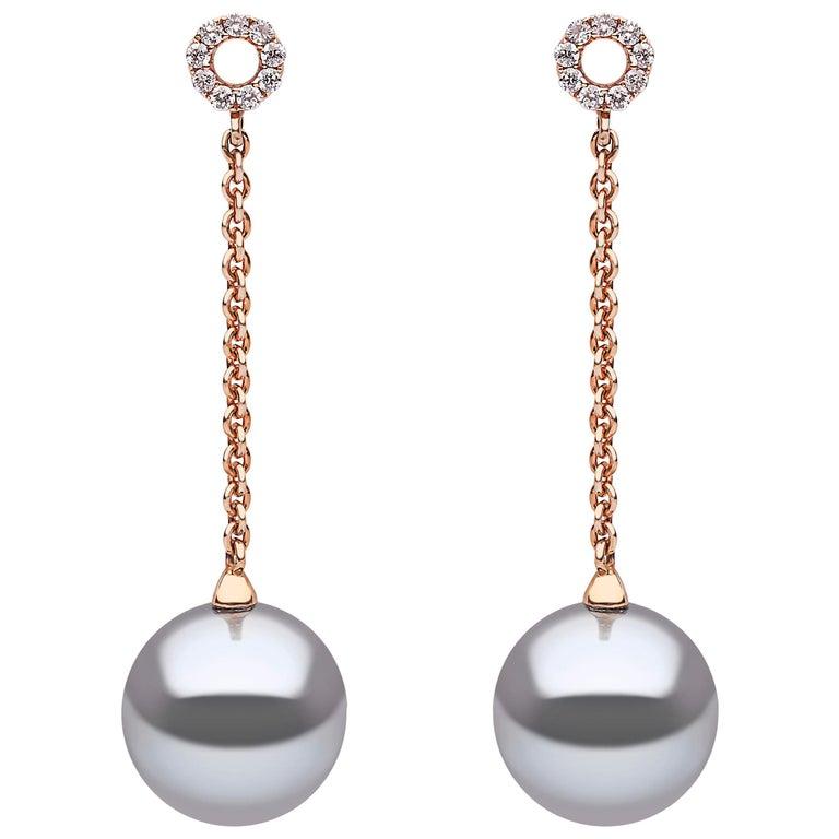 Yoko London Tahitian Pearl and Diamond Earrings Set in 18 Karat Rose Gold