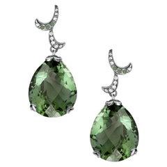 Fei Liu Green Amethyst Diamonds 18 Karat White Gold Smal Pear Drop Earrings