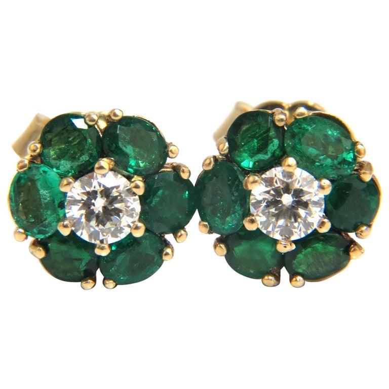 3.14 Carat Natural Vivid Green Emerald Diamond Earrings 14 Karat Cluster