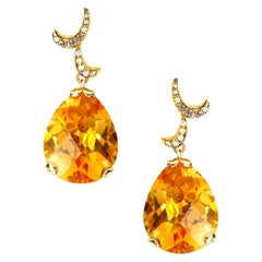 Fei Liu 18 Karat Yellow Gold Citrine Small Pear Drop Earrings