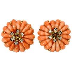 Pair of Carved Coral, Diamond and Citrine Earrings Set in 18 Karat Gold
