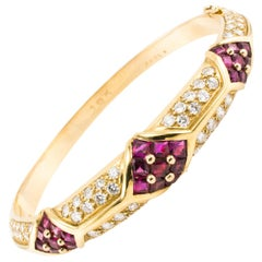 Cartier 2.80 Carat Diamond and 2.40 Carat Ruby Gold Bracelet