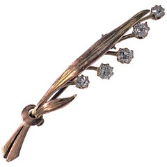 Antique Gold Diamond Floral Leaf  Brooch, circa 1910