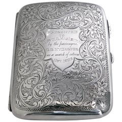 Antique Sterling Silver Cigarette Case Birmingham 1901 Samuel Levi