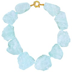 1,446.50 Carats of Carved Sky Blue Aquamarine Statement Necklace