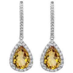 Pear Shaped Citrine and Diamond Halo Drop Earrings