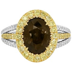GIA Certified Alexandrite Oval 2.76 Carat Diamond Halo Two-Color Gold ring