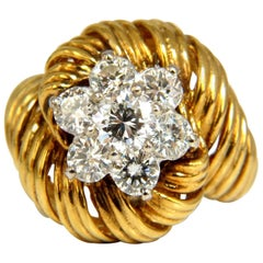 1.50 Carat Natural Diamonds 3D Curling Twist Cluster Ring 18 Karat G/VS