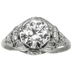 Art Deco 1.55 Carat Diamond Platinum Engagement Ring
