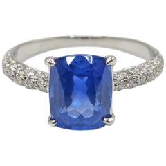 2.01 Carat Cushion Cut Natural Ceylon Sapphire Diamond Platinum Engagement Ring