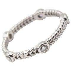 0.25 Carat Diamond 14 Karat White Gold Rope Band Ring