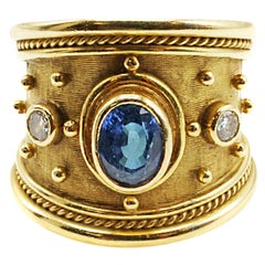 Elizabeth Gage Sapphire Diamond 18 Karat Gold Templar Ring