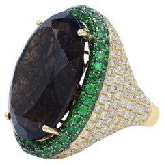 Citrine Diamond Tsavorite Cocktail Ring 25g 18 Karat Yellow Gold 3.24 Carat