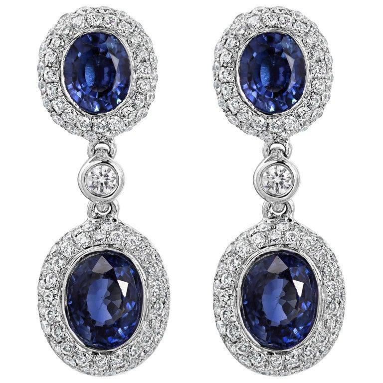 Oval Cut Blue Sapphire and Diamond Dangle Earrings