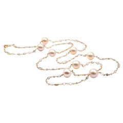 Cultured Pearl and Faceted White Topaz 14 Karat Rose Gold by The Yard Necklace