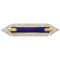 David Webb Platinum Diamond Lapis Lazuli Pin Brooch Gold