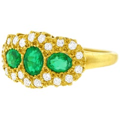 Emerald and Diamond Set Gold Ring