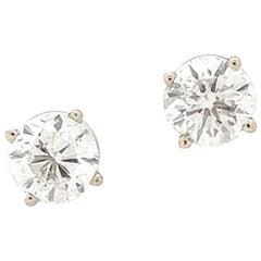 14 Karat White Gold Round Brilliant Cut Diamond Stud Earrings 1.83 Carat I1/H