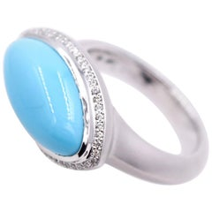 Marquise Shaped Turquoise and White Diamond Cocktail Ring, 18K Satin White Gold