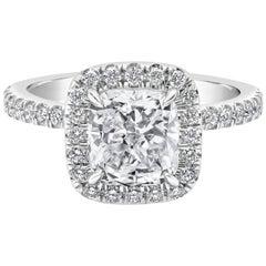 GIA Certified 2.01 Carat Cushion Cut Diamond Halo Engagement Ring