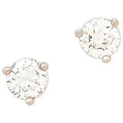 14 Karat White Gold Round Brilliant Cut Diamond Stud Earrings .44 Carat SI2/H