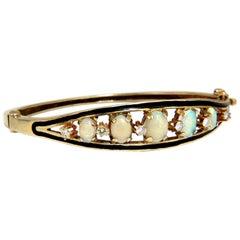 6.60ct natural Australian opals diamond bangle cocktail bracelet 14kt Vintage