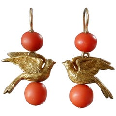 Antique Victorian Cherry Picking Birds Coral Gold Drop Earrings
