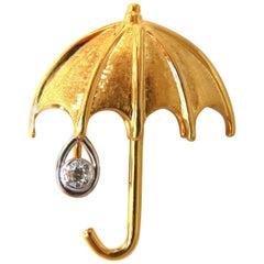 .50 Carat Diamond Umbrella Brooch Pin 14 Karat and Rain Drop