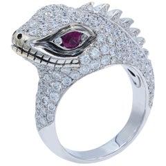 Lizard Diamond Pave Ring 2.75 Carat 18 Karat White Gold