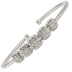 Solid 18 Karat White Gold Genuine Diamond Cuff Bracelet 12.5g