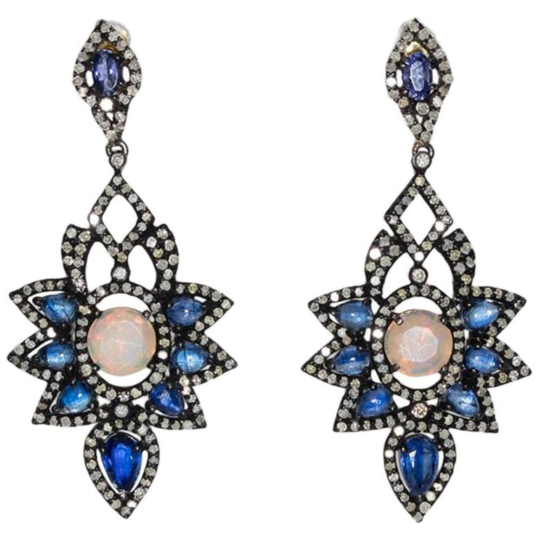 Pair of Sapphire, Diamond and Moonstone Earrings in Black Rhodium