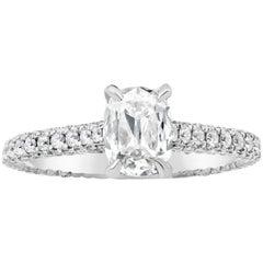 GIA Certified 0.85 Carat Elongated Cushion Cut Diamond Engagement Ring
