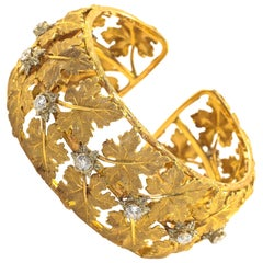 Buccellati Diamond Cuff Bracelet Yellow Gold Maple Leaf Motif