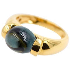Green Cabochon Tourmaline 18 Karat Yellow Gold Ring