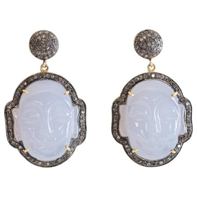 Carved Chalcedony Buddha and Diamond Earrings