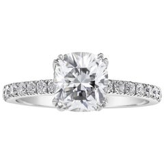 GIA Certified 1.54 Carat Cushion Cut Diamond Engagement Ring