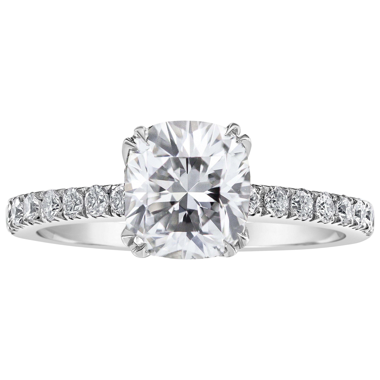 Roman Malakov, GIA Certified 1.54 Carat Cushion Cut Diamond Engagement Ring