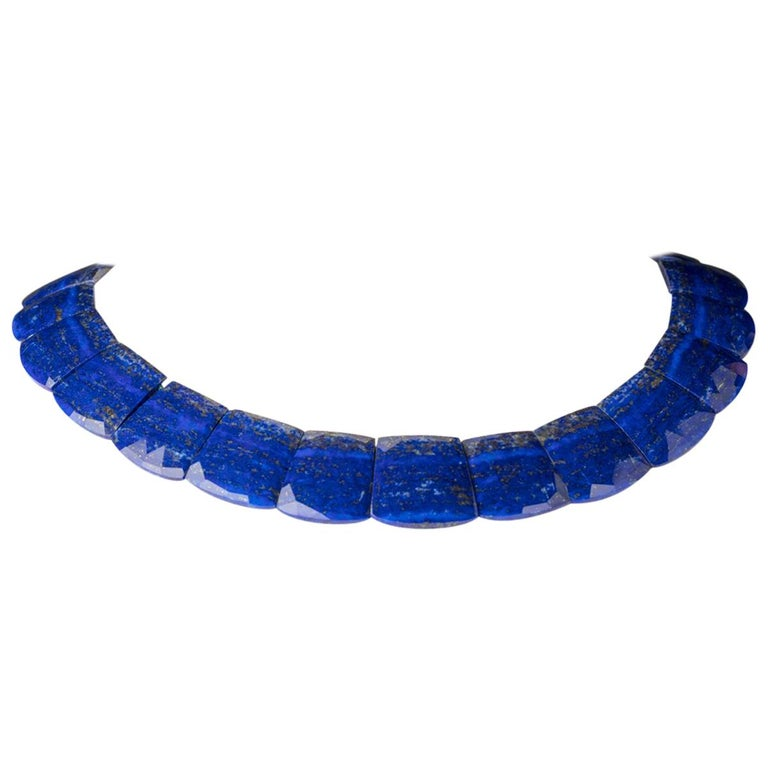 Faceted Lapis Lazuli Necklace with Sterling Silver Clasp