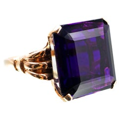 1940s Retro 20.75 Carat Square Cut Amethyst Rose Gold Ring