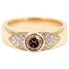 Brown Diamond and White Diamond Statement Ring in 18 Karat Yellow Gold