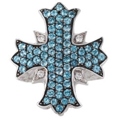 Hellmuth Sterling Silver and Topaz Cross Ring