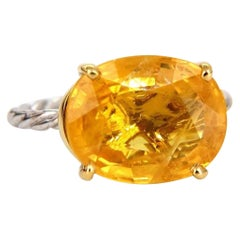 6.95 Carat Natural Yellow Sapphire Ring 14 Karat Braid Shank