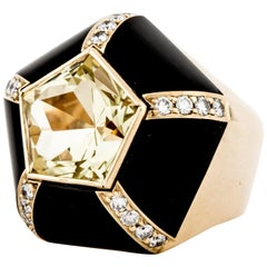 18 Karat Onyx Citrine Yellow Gold Ring