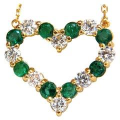 Natural Emeralds and Diamonds Open Heart Necklace 2.12 Carat 14 Karat G/Vs