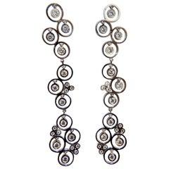 1.00 Carat Diamonds Floating Circle Dangle Earrings 14 Karat Bubble Sparkles