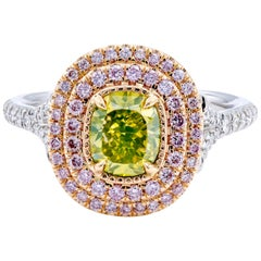 David Rosenberg 1.18ct Green Yellow Cushion Pink Halo Diamond Engagement Ring