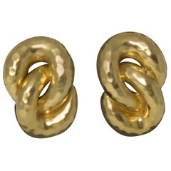 Henry Dunay Hammered 18 Karat Gold Knot Earrings