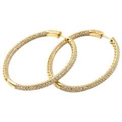 6.23 Carat Diamond 14 Karat Yellow Gold Inside or Outside Oval Earrings