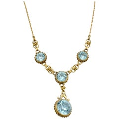 Edwardian Blue Zircon 14 Karat Gold Necklace