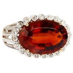 GIA Certified 10.98 Carat Natural Mandarine Citirne Diamond Ring 14 Karat